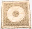 tablecloth, cream satin faced cotton embroidered i...
