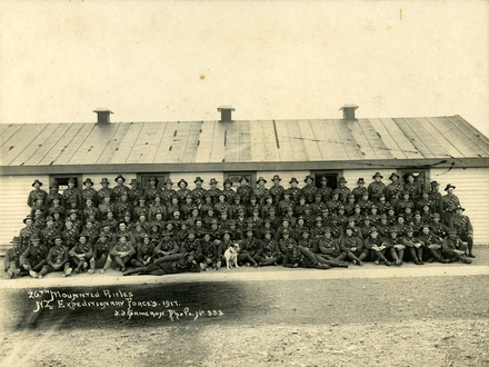 Group shot of 26th Mounted Rifles, NZ Expeditionary Forces. 1917. Trooper Maurice Davis (s/n 43189) of third row, right hand side.  Image kindly provided by family. Image has no known copyrigh restrictions.