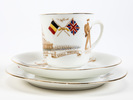 cup, saucer and plate set, WWI souvenir illustrate...