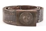 German belt, WW1 leather belt, with brass buckle b...
