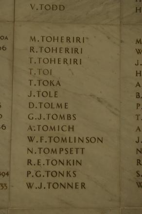Auckland War Memorial Museum, World War 1 Hall of Memories Panel Toheriri, M. - Tonner, W.J. (CC BY John Halpin 2010)