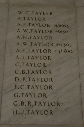 Auckland War Memorial Museum, World War 1 Hall of Memories Panel Tayler, W.C. - Taylor, H.J. (CC BY John Halpin 2010)