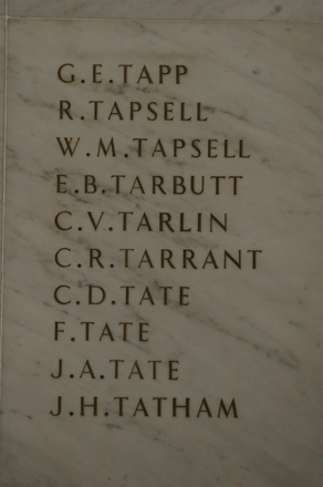 Auckland War Memorial Museum, World War 1 Hall of Memories Panel Tapp. G.E. - Tatham, J.H. (CC BY John Halpin 2010)