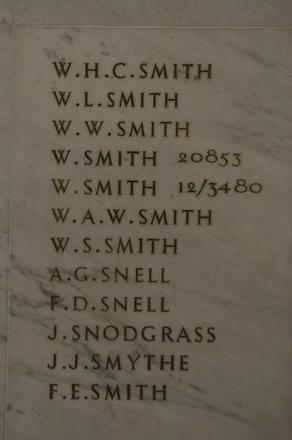 Auckland War Memorial Museum, World War 1 Hall of Memories Panel Smith, W.H.C. - Smith, F.E. (CC BY John Halpin 2010)