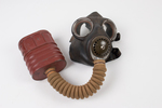MkV gas mask in satchel that belonged to Cyril Rod...