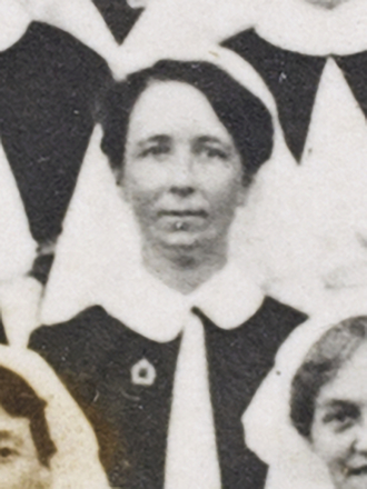 Nurses New Zealand General Hospital Cairo. Identification of nurses in photograph from scrapbook re. Cora B. Roberton (nee Anderson) [Box 9]: Detail of Daphne Commons. Mackrell, Brent. Papers. Auckland War Memorial Museum Library. MS-2003-107. Image has no known copyright restrictions.