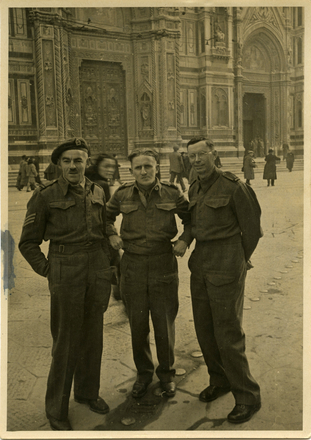 Street portrait of Andrew Todd, unidentified soldier and Geoff Wake on leave in Florence, Italy. Image provided by Sally Chao. This image may be subject to copyright.
