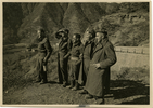 Photo of 5 soldiers in rural setting. Identified soldiers are Geoff Wake second from left and Andrew Todd on extreme right. Image provided by Sally Chao. This image may be subject to copyright.