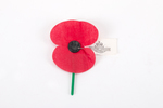 RSA ANZAC poppy, paper petals attached to a plasti...
