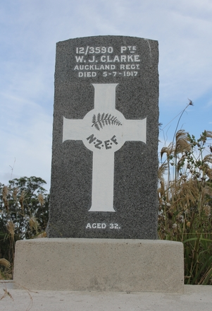 Grave site  at Waikumete Cemetery, Auckland, for Walter John Clarke (12/3950). Image provided by Hugh Grenfell, March 2016. © Auckland Museum CC BY.