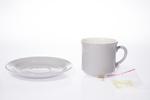 Teacup and saucer, colour glaze in Christina Grey...
