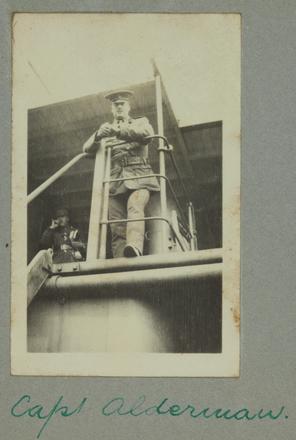Unknown, photographer (1914-1918).  Capt. Alderman . Auckland War Memorial Museum - Tāmaki Paenga Hira. Gallipoli Album PH-ALB-382-p40-2. Image has no known copyright restrictions.