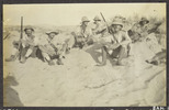 Williams, Edward Gordon, photographer (1914-1918).The post I occupied during the battle of Romani 8am 4.8.16 to 4am 5.8.16. Left to right: Cpl Nurse D.W Williams, E.G.W., Cpl. Ellesdon, Maj. Spragge, Donnelly, Quartley, Sgt. Robertson's boots. [Williams Album 2]. Auckland War Memorial Museum - Tamaki Paenga Hira. PH-ALB-211-p3-2. Image has no known copyright restrictions.