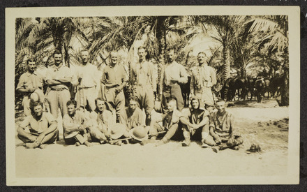 Williams, Edward Gordon, photographer (1914-1918).W.M.R. Officers who came through the Romani fighting July 19th to Aug 11th 1916. [Williams Album 2]. Auckland War Memorial Museum - Tamaki Paenga Hira. PH-ALB-211-p9-1. Image has no known copyright restrictions.