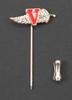 EVSA tie pin; metal fernleaf with large red enamel...
