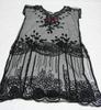 dress, beaded overdress black cotton net, unshaped...