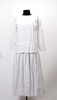 white cotton dress with pleated front and skirt, f...