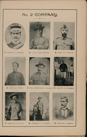 Portraits of South African War service personnel. St Clair Inglis, A. (c1902). Souvenir Album of the first New Zealand Contingent South African War. Auckland, N.Z.: Arthur Cleave & Co.p. 49. Image has no known copyright restrictions.