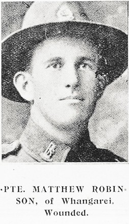 Portrait of Private Matthew Robinson 23439, 'Auckland Weekly News', 14 December, 1916. Sir George Grey Special Collections, Auckland Libraries, AWNS-19161214-41-29