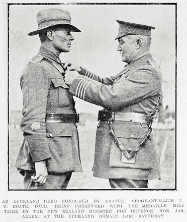An Auckland hero honoured by France: Sergeant-Major P. C. Boate, D.C.M., being presented with the Medaille Militaire by the New Zealand Minister for Defence. Hon. Jas. Allen, at the Auckland Domain last Saturday. Taken from the supplement to the Auckland Weekly News 28 September 1916 p038. Sir George Grey Special Collections, Auckland Libraries, AWNS-19160928-38-1. No known Copyright.