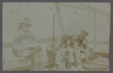 Lieutenants Bennet, Fyfe [Fyffe] and Airey, S.S. Mokoia. C.S. Alexander Album,Alexander, Charles Stewart, 1895-1970, photographer, 1916-1918, PH-ALB-404 Loose 18. Image has no known copyright.