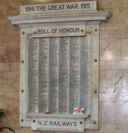 Railways Roll of Honour board. Wellington Railway Station, Pipitea, Wellington 6011. Image provided by John Halpin 2017, CC BY John Halpin 2017.