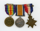 Medals of Sister Eileen Grace Hanan 22/121. Verso from right to left: 1914-1915 Star; British War Medal; Victory Medal. Image kindly provided by Stoney Burke (August 2017). Image has no known copyright restrictions.