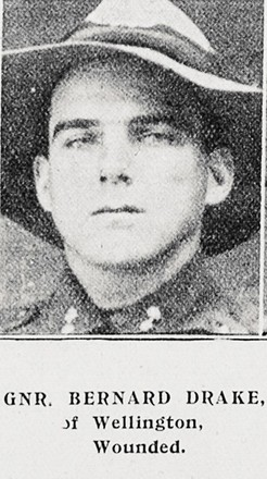 Portrait of Gunner Bernard Drake 2/36, of Wellington, Wounded. Auckland Weekly News, 15 February 1917. Sir George Grey Special Collections, Auckland Libraries, AWNS-19170215-44-36.