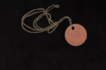 identity tag on silver chain small round leather i...