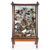 display case, large, filled with assorted birds fr...