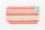 purse; wool, cream warp, red patterned weft with f...