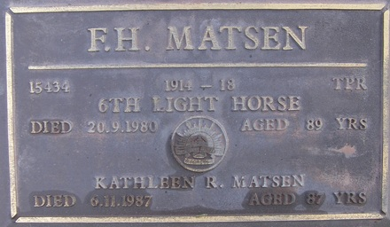 Gravestone of Trooper Frederick (Fred) Matsen, NZEF and AIF. Image kindly provided by Ian Pilkinton (July 2018). Image may be subject to copyright restrictions.