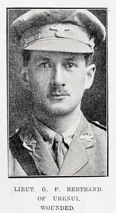 Portrait of Lieutenant George Frederick Bertrand, Auckland Weekly News, 4 October 1917. Sir George Grey Special Collections, Auckland Libraries, AWNS-19171004-34-4. Image has no known copyright restrictions.