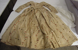 dress, woman's, cream silk brocade sprigged and st...