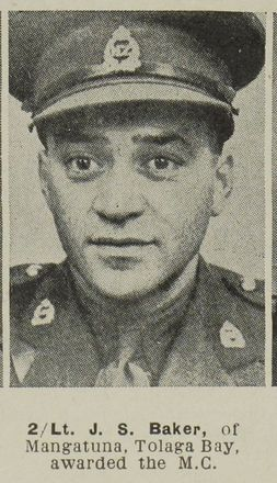 Portrait of Second Lieutenant John Sonny Baker, Auckland Weekly News, 26 April 1944. Sir George Grey Special Collections, Auckland Libraries, AWNS-19440426-22-43.