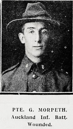 Portrait of Private Gerald Morpeth, Auckland Weekly News, 20 May 1915. Sir George Grey Special Collections, Auckland Libraries, AWNS-19150520-40-48. Image has no known copyright restrictions.