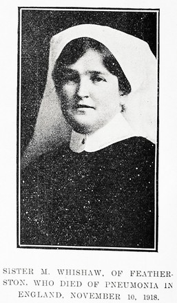 Portrait of Sister Mabel Whishaw, Auckland Weekly News, 30 January 1919. Sir George Grey Special Collections, Auckland Libraries, AWNS-19190130-36-4. Image has no known copyright restrictions.