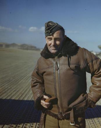 Colour portrait of Air Marshal Sir Arthur Coningham, in Italy, January 1944. RAF Photographer. IWM TR1497. Image may be subject to copyright restrictions.