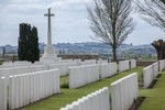 General view of Nine Elms Commonwealth War Graves cemetery, west of Poperinge in West Vlanderen, Belgium. Latitude: 50.85095  Longitude: 2.69701. Image kindly provided as part of the New Zealand War Graves project (2018). Image may be subject to copyright.