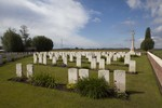 General view of Divisional Cemetery, 2km west of Ieper (Ypres) town centre, West Vlanderen, Belgium. Image provided as part of the New Zealand War Graves project (2018). Image may be subject to copyright restrictions.