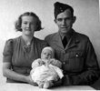 Photograph of Corporal Roy Ginn NZ426845, with his wife Sheila and son Graeme, 1942. Image kindly provided by Jennifer Clark (November 2018). Image has no known copyright restrictions.