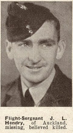 Portrait of Flight Sergeant John Lawrence Hendry, Auckland Weekly News, 3 November 1943. Sir George Grey Special Collections, Auckland Libraries, AWNS-19431103-21-3. Image has no known copyright restrictions.