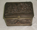 casket, metal, lined with blue satin, high relief ...