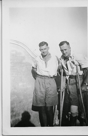 Photograph of David Arthur Roland McBeth (right) and his brother John Allan McBeth at Helwan Hospital in 1941. Image kindly provided by Terry McBeth (February 2019). Image may be subject to copyright restrictions.