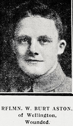 Portrait of Rifleman Wilfrid Burt Aston, Auckland Weekly News, 21 September 1916. Auckland Libraries Heritage Collections AWNS-19160921-41-8. Image has no known copyright restrictions.