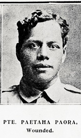 Portrait of Private Paetaha Paora, Auckland Weekly News, 30 September 1915. Auckland Libraries Heritage Collections AWNS-19150930-45-6. Image has no known copyright restrictions.