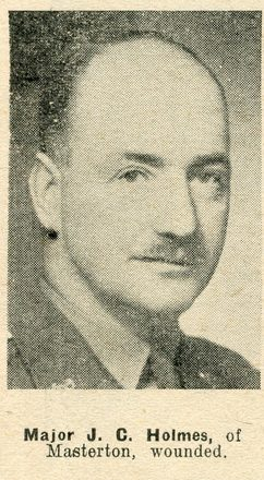Portrait of Major John Carlton Holmes, Auckland Weekly News, 2 September 1942. Auckland Libraries Heritage Collections AWNS-19420902-18-17. Image has no known copyright restrictions.