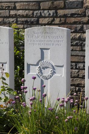 Headstone of Private James Henry McClenaghan (26432). Menin Road South Military Cemetery, Ieper, West-Vlaanderen, Belgium. New Zealand War Graves Trust (BECR0834). CC BY-NC-ND 4.0.