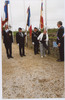 Photograph of Angela unveiling the plaque at Plougerneau Cemetery. Image from Angela Caughey's Family album. Image kindly provided by Angela Caughey nee Wilson (August 2019). Image may be subject to copyright restrictions.