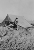 Photograph of Eric Batchelor shaving, Western Desert, c. Second World War. From the collection of Arthur William (Moss) Squire 16770, 23 Battalion. Image kindly provided by Roger Sommerville (October 2019). Image may be subject to copyright restrictions.